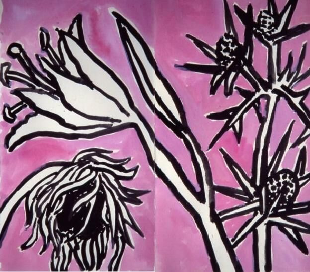 Lily, Sunflower and Eryngyum on Pink