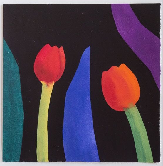 Two Red Tulips with Green, Blue and Purple Leaf Shapes