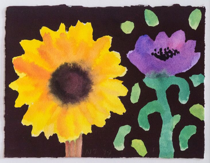 Winter Sunflower and Purple Anemone I
