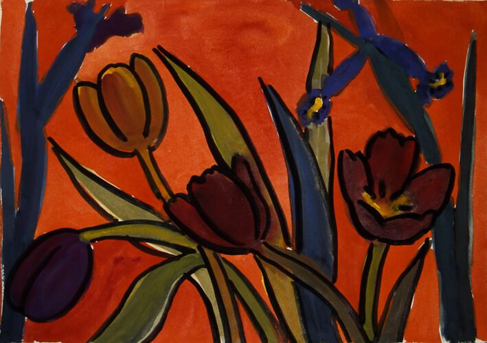 Tulips and Irises on Orange