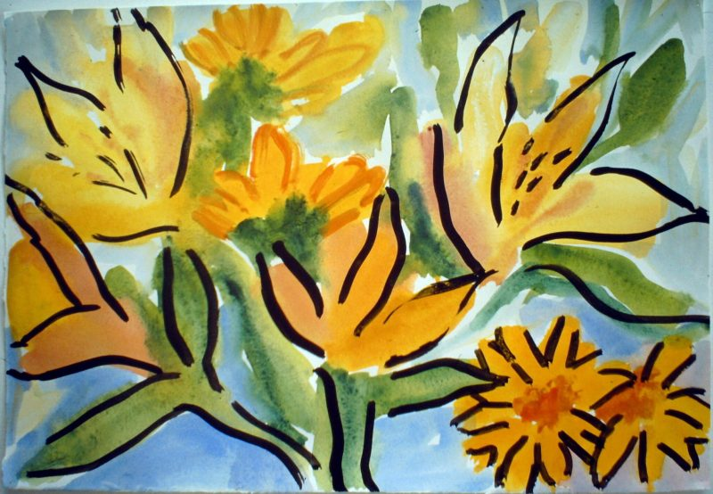 Lilies and Orange Daisies on Pale Blue