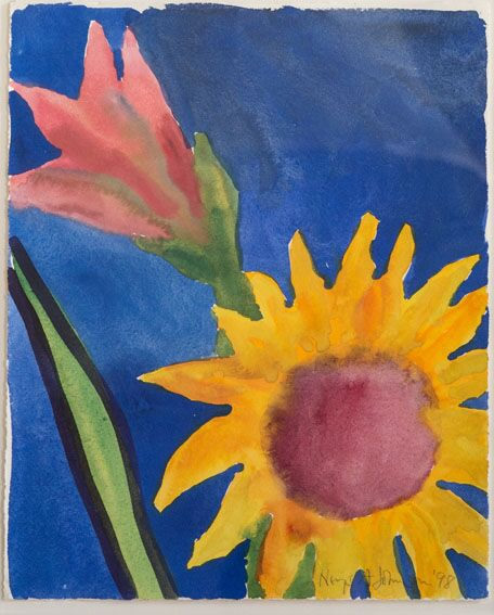 Sunflower and Amaryllis on Blue