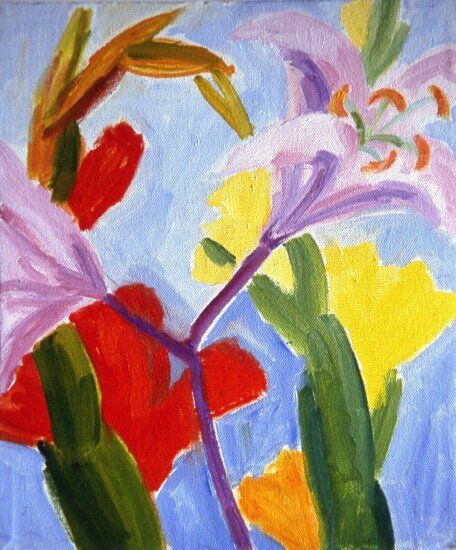 Pink Lily and Red and Yellow Gladioli