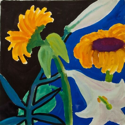 Sunflowers and White Lily on Black/Royal Blue