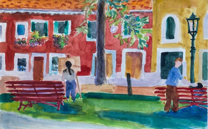 Suzie Painting in Campo S. Margherita