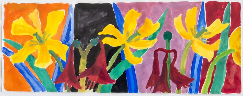 Amaryllis and Yellow Tulips on Split Ground by Nerys Johnson